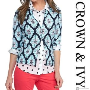 Crown & Ivy Cardigan Sweater 3/4 Sleeve Button Up